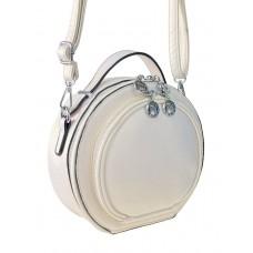 На фото 1 - Круглая женская сумка из экокожи, цвет белый
