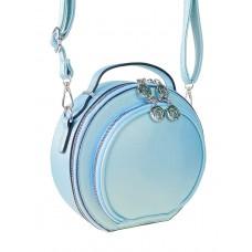 На фото 1 - Круглая женская сумка из экокожи, цвет нежно-голубой