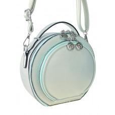 На фото 1 - Круглая женская сумка из экокожи, цвет нежно-мятный