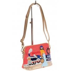 На фото плетеная crossbody для женщин, цвет основы – красный, материал – эко-кожа, купить оптом в магазине Грета