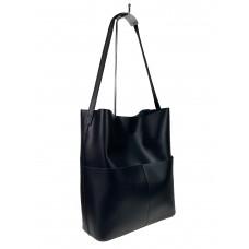 На фото 1 - Кожаный женский шоппер, цвет чёрный