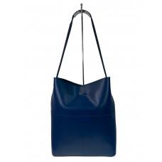 На фото 1 - Кожаный женский шоппер, цвет синий