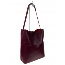 На фото 1 - Кожаный женский шоппер, цвет бордовый