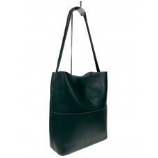 На фото 1 - Кожаный женский шоппер, цвет зелёный