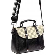 На фото 1 - Маленькая сумка кросс-боди из жатой искусственной кожи, цвет молочный с принтом