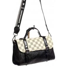 На фото 1 - Небольшая сумка кросс-боди из жатой искусственной кожи, цвет молочный с принтом