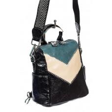 На фото 1 - Женская сумка-рюкзак из экокожи, цвет чёрный с бирюзовым и молочным