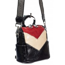 На фото 1 - Женская сумка-рюкзак из экокожи, цвет чёрный с красным и молочным