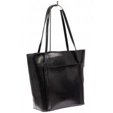 На фото 1 - Сумка женская шоппер из натуральной кожи, цвет черный