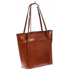 На фото 1 - Сумка женская шоппер из натуральной кожи, цвет коричневый