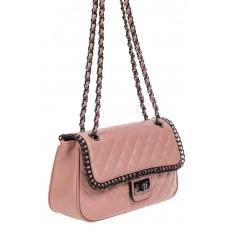 На фото 1 - Женская стёганая сумочка из натуральной кожи на цепочке, цвет пыльная роза