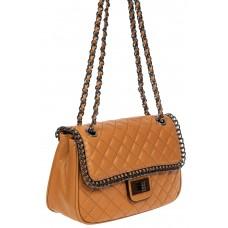 На фото 1 - Женская стёганая сумочка из натуральной кожи на цепочке, цвет рыжий