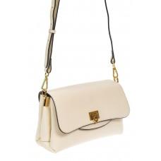 На фото 1 - Женская сумка satchel из фактурной натуральной кожи, цвет белый