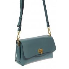 На фото 1 - Женская сумка satchel из фактурной натуральной кожи, цвет бирюзовый