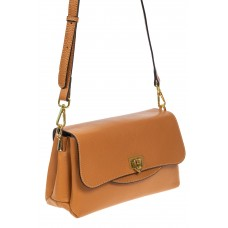 На фото 1 - Женская сумка satchel из фактурной натуральной кожи, цвет рыжий