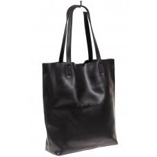 На фото 1 - Кожаная сумка шоппер, цвет чёрный