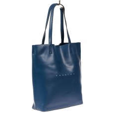 На фото 1 - Кожаная сумка шоппер, цвет синий