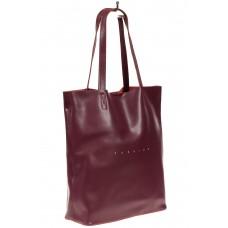 На фото 1 - Кожаная сумка шоппер, цвет бордовый