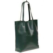 На фото 1 - Кожаная сумка шоппер, цвет зелёный