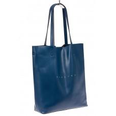 На фото 1 - Сумка женская – мешок из кожи, цвет синий