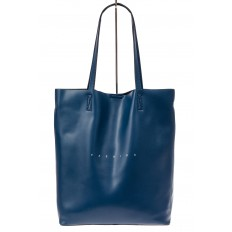 На фото 2 - Сумка женская – мешок из кожи, цвет синий