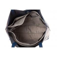 На фото 4 - Сумка женская – мешок из кожи, цвет синий