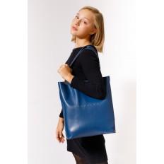На фото 5 - Сумка женская – мешок из кожи, цвет синий