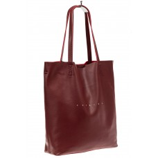На фото 1 - Сумка женская – мешок из кожи, цвет бордо
