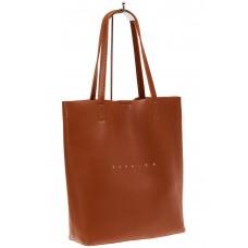 На фото 1 - Сумка женская – мешок из кожи, цвет рыжий