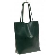 На фото 1 - Сумка женская – мешок из кожи, цвет зеленый