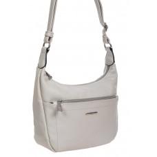 На фото 1 - Классическая женская сумка из фактурной экокожи, цвет светло-серый