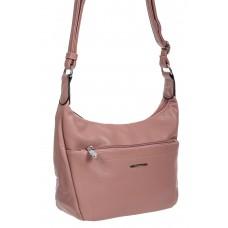 На фото 1 - Классическая женская сумка из фактурной экокожи, цвет пыльная роза