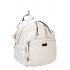 На фото 1 - Женский белый рюкзак-трансформер из искусственной кожи