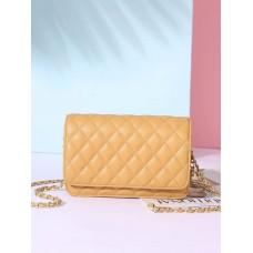 На фото 1 - Женская сумка кросс-боди из натуральной кожи, цвет желтый