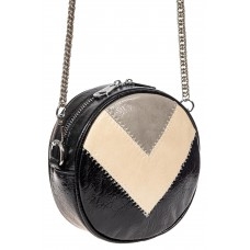 На фото 1 - Женская круглая сумка из экокожи, цвет черный с серым