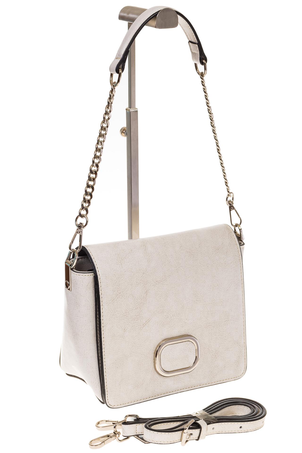 на фото Saddle bag из натуральной кожи белого цвета 8987MK5