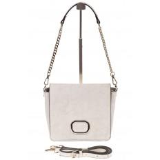 На фото 2 - Saddle bag из натуральной кожи белого цвета 8987MK5