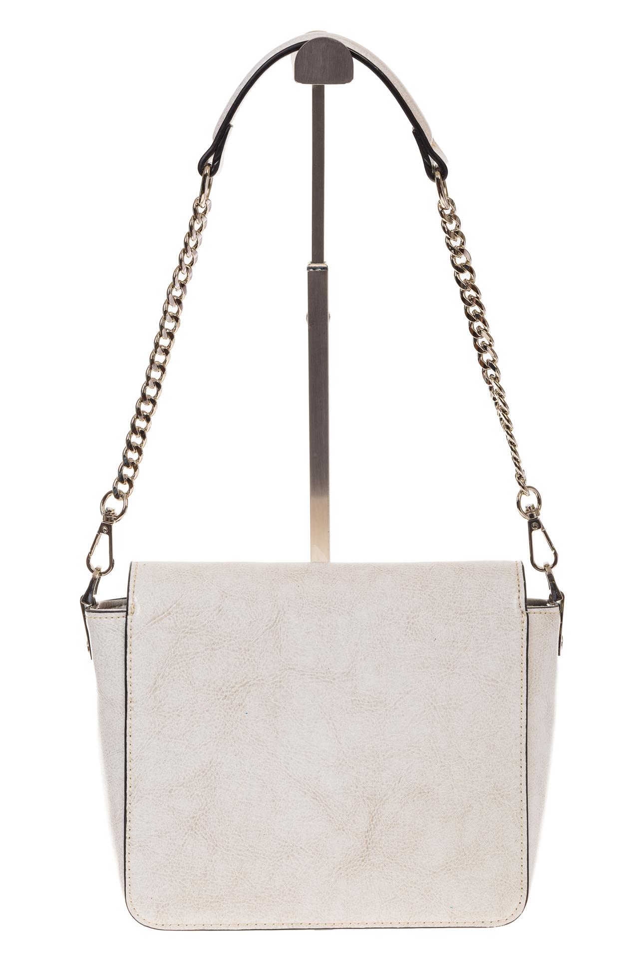 На фото 3 - Saddle bag из натуральной кожи белого цвета 8987MK5