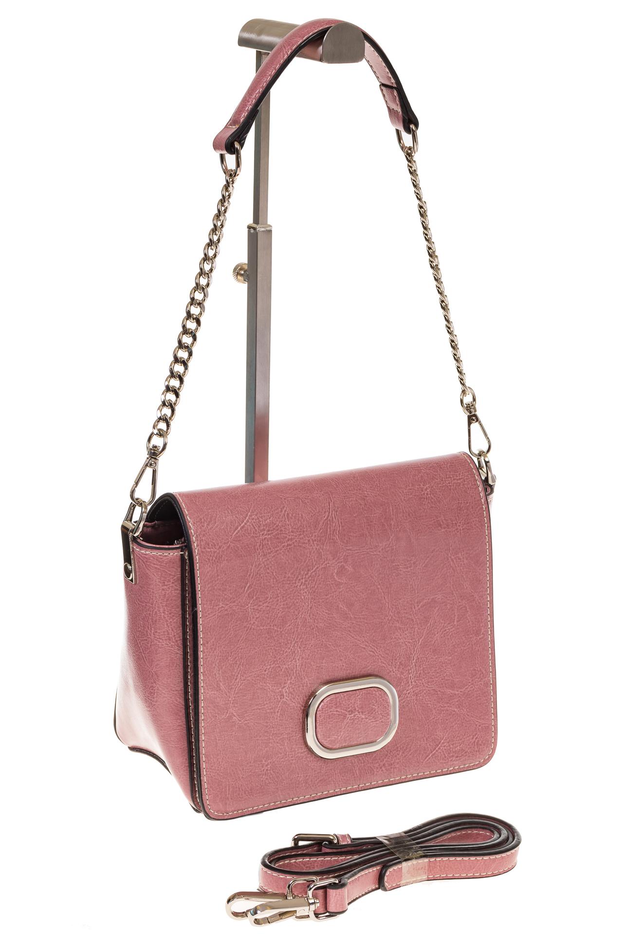на фото Saddle bag из натуральной кожи цвета пудра 8987MK5