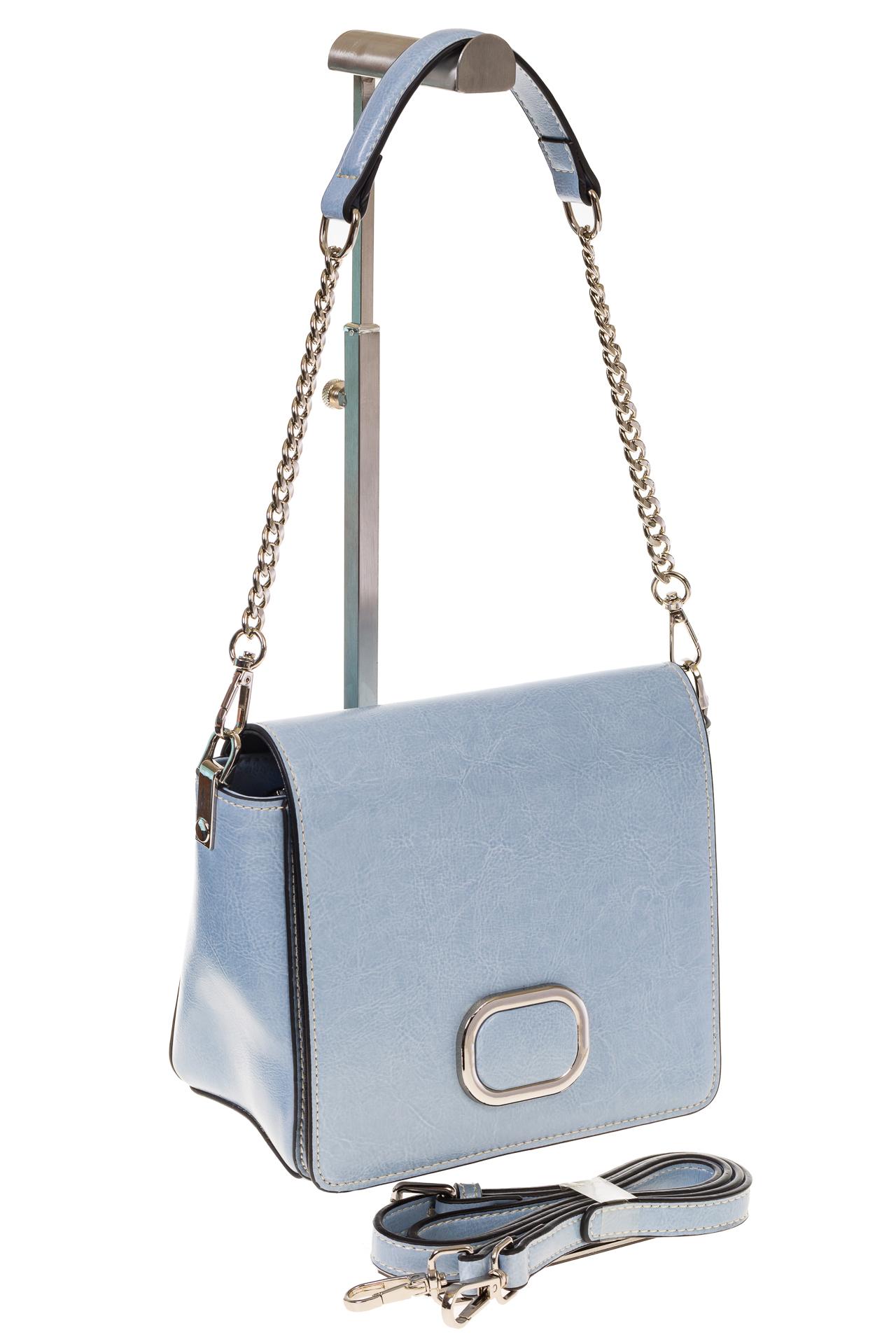 на фото Saddle bag из натуральной кожи голубого цвета 8987MK5