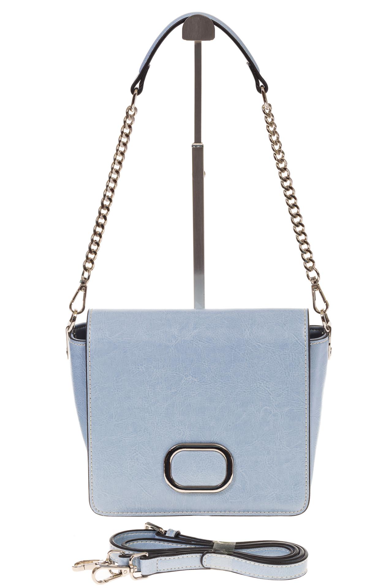 На фото 2 - Saddle bag из натуральной кожи голубого цвета 8987MK5
