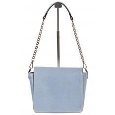 На фото 3 - Saddle bag из натуральной кожи голубого цвета 8987MK5