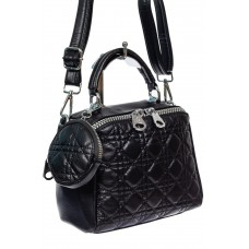 На фото 1 - Стёганая женская сумка из экокожи с круглой косметичкой, цвет чёрный
