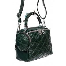 На фото 1 - Стёганая женская сумка из экокожи с круглой косметичкой, цвет зелёный