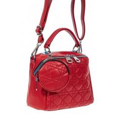 На фото 1 - Стёганая женская сумка из экокожи с круглой косметичкой, цвет красный