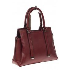 На фото 1 - Офисная женская сумка из натуральной кожи, цвет бордовая