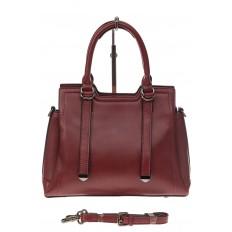 На фото 2 - Офисная женская сумка из натуральной кожи, цвет бордовая