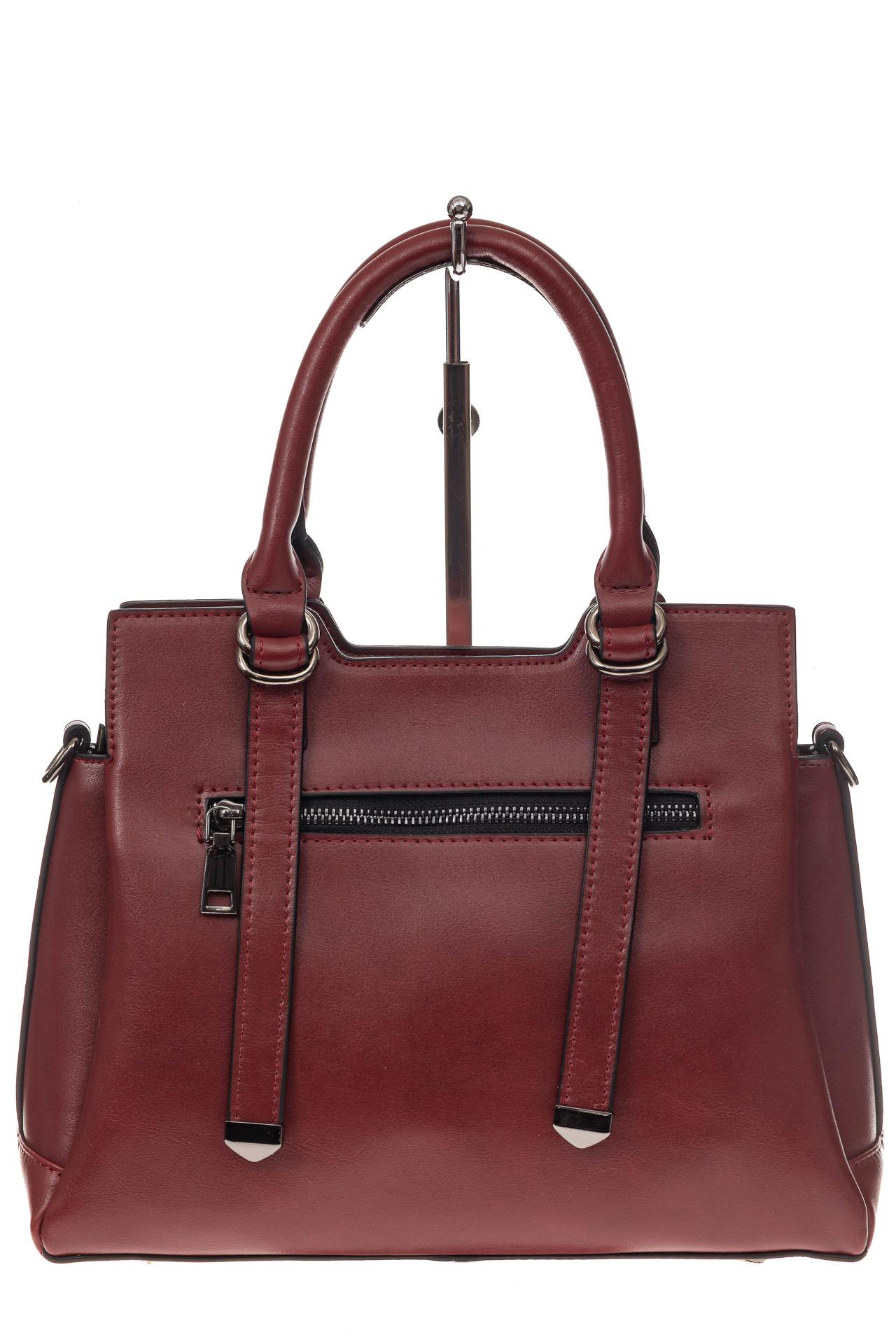 На фото 3 - Офисная женская сумка из натуральной кожи, цвет бордовая