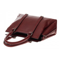 На фото 4 - Офисная женская сумка из натуральной кожи, цвет бордовая