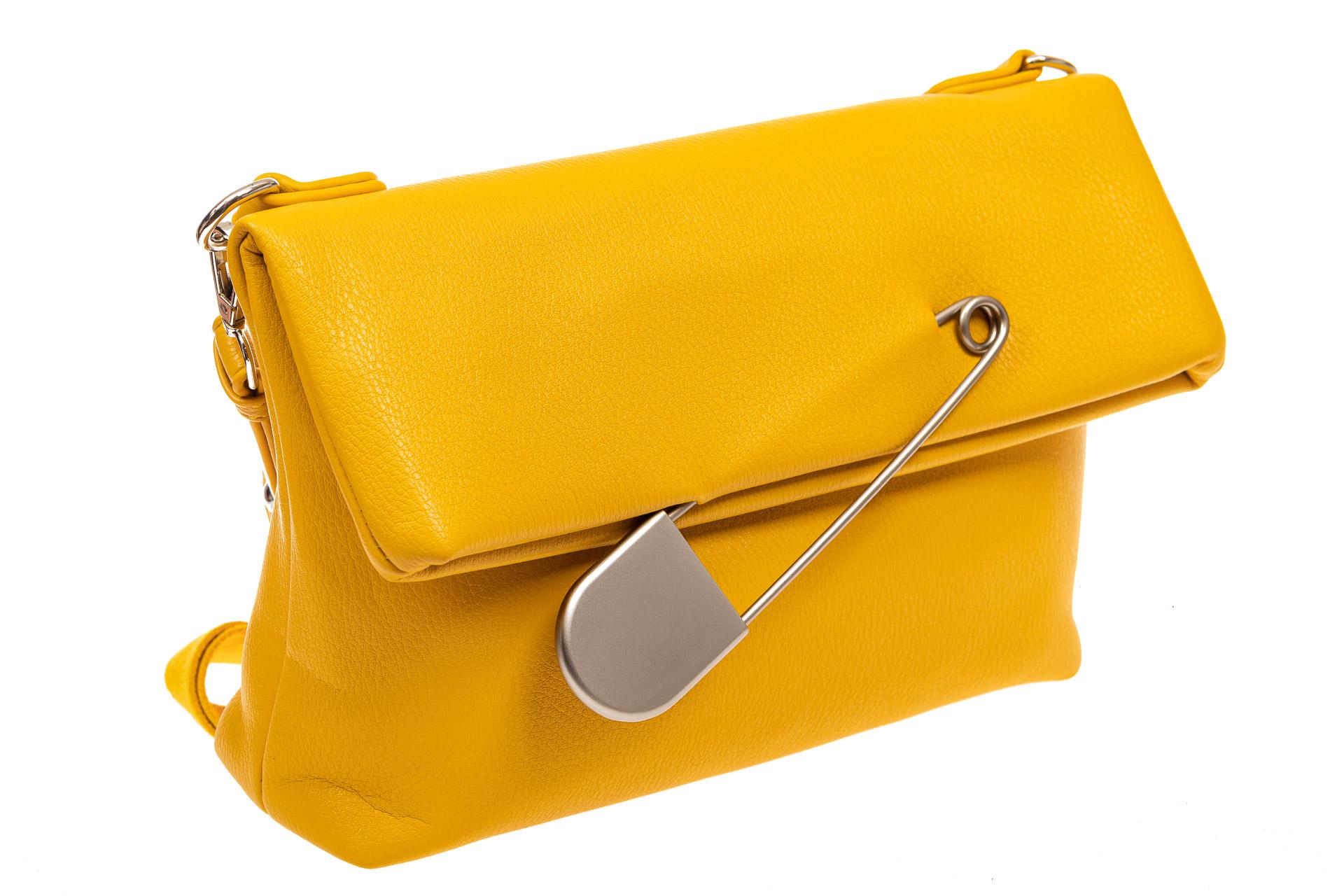 На фото 1 - Сумка-клатч женский из искусственной кожи, цвет желтый
